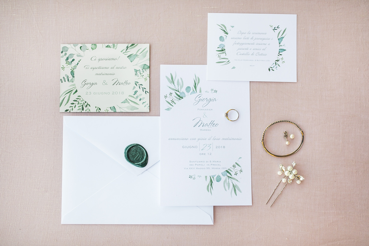 italiy watercolour wedding stationery